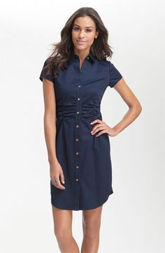 So classy and flattering!  Love the ruching and the navy -- one of my favorite colors!