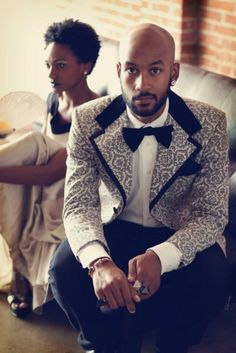 this claims to be reinventing the tux but come on you are just putting a modern spin on a tux. I do love it though looks great. about time for a come back Men In Black, Black Love, Sharp Dressed Man, Well Dressed Men, Wedding Suits, Wedding Attire, Wedding Tuxedos, Creative Black Tie, Style Masculin