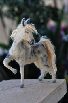 Needle felted horse--OOAK Collectible artist wool soft sculpture by Daria Lvovsky-Made to custom order. $150.00, via Etsy.
