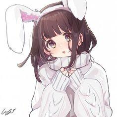 I'm a bunny menhera. Manga Anime Girl, Cool Anime Girl, Beautiful Anime Girl, Kawaii Anime Girl, Anime Love, Anime Girls, Cute Anime Chibi, Cute Anime Pics, Anime Neko