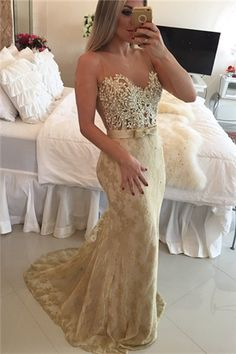 $169-Sheer Mermaid Lace Prom Dresses 2016 Sleeveless Sash Bow Applqiues Party…