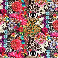 Melli Mello Bohemain Love, digitale stof met een creatieve combinatie van motieven en kleuren.