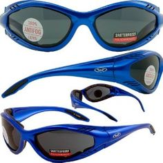 24672aba20d5 Jack Flash Foam Padded Motorcycle Sunglasses Blue Frame Smoke Lenses by  Global Vision.  21.85