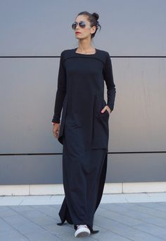 Maxi Elegant Black Cotton Maxi Dress Large Side Pockets / Long sleeves Unique Sophisticated Extravagant Dress Perfect for different events,parties , dinners...weddings .... A definite Head Turner !!!  ♥ THE PERFECT GIFT EVER Solution ♥ ♥ I wrapped all garments in my Boutique in a special UNIQUE way ♥ I Love this Gorgeous Garment!  This is one of my Favourite ! Always a STAR when wearing it :)   ♥ ♥ ♥ So comfortable,elegant,stunning....Youll gonna love this piece ♥ ♥ ♥ Dear to Wear…