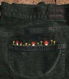 embroidered my corduroys today - Embroidery Cute Embroidery, Embroidery Patterns, Embroidery Works, Embroidery On Jeans, Diy Fashion, Fashion Outfits, Fashion Shirts, 2000s Fashion, Winter Fashion