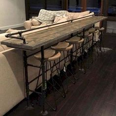 Bar Tables Behind Couch Catchy Bar Table Behind Couch With Best Ideas On Sofa Back Console Table Bar Behind Couch Bar Table Behind Couch, Modern Farmhouse Living Room Decor, Table Bar, Bar Design, Patio Bar Set, Sofa Tables, Couch Dining Table, Console Table, Bar Furniture