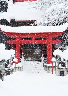Snow becomes part of the grandeur that is Japan....