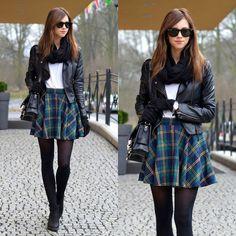 Green Plaid Check Skater Skirt - chicwish.com
