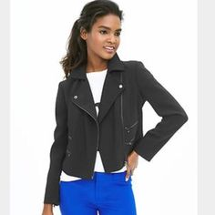 NWOT Banana Republic silver zip moto jacket! Darling jacket for a super great price! Slightly cropped with silver tone zippers- fully lined a excellent quality! Banana Republic Jackets & Coats Blazers