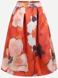Falda flor estampada plisado midi -naranja