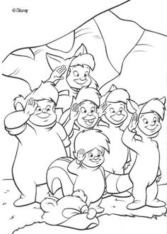 Peter Pan is a famous Disney movie. Discover this coloring page of Peter Pan Lost boys. A nice drawing for disney lovers.