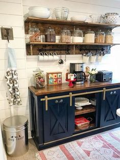 Home #Coffee #Bar #designs Our Planked X Sliding Barn Door Console in a beautiful navy painted base with dark walnut stained interior and top. Painted antique brass hardware. Paired with matching shelves above. Just Lovely!!