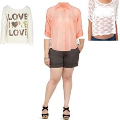 """""""FOCAL ITEM: Grey trouser shorts"""" by robin-the-rainbow ❤ liked on Polyvore"""