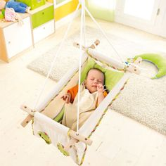 """Bed, Swing, Hammock  -- Baby can always be near you thanks to this """"quick-change"""" artist and he'll always be in a position that's comfortable for him. To change the position of the bed you only need to adjust the wooden frame and the ropes"""