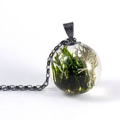 Woodland Resin Necklace with Moss Gift for Her Christmas
