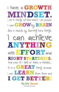 Get your own growth mindset poster for kids from Big Life Journal. A perfect way to motivate kids and help them develop a growth mindset. Growth Mindset For Kids, Growth Mindset Posters, Growth Mindset Activities, Growth Mindset Classroom, Growth Mindset Display, Growth Mindset Lessons, What Is Growth Mindset, Education Positive, Gifted Education