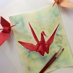 painting of four origami cranes by carole of origa me blog