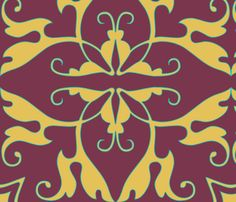 rococo, in plum fabric by wiccked on Spoonflower - custom fabric.  This is very close to the print I am looking for - just in peacock or electric blue