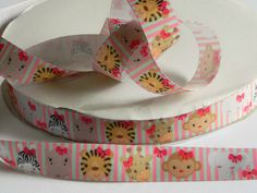 "Baby Animals Grosgrain 7/8"" Ribbon 5 yards of Striped Ribbon for Hair Bows Scrapbook Sewing Projects Elephant Tiger Monkey Hippo and Giraffe by HouseofHairDecor on Etsy"