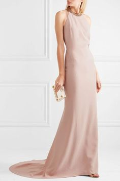 Stella McCartney | Chain-embellished stretch-crepe halterneck gown | NET-A-PORTER.COM
