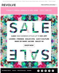 Revolve Sale Email Design / Newsletter layout - upside down books/products Newsletter Layout, Email Newsletter Design, E Commerce, Graphic Design Layouts, Layout Design, Email Design Inspiration, Promotional Design, Sale Banner, Sale Poster