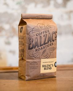 Coffee Roasters Brand & Packaging Design and Hand Lettering for Balzac's Coffee Roasters, a hand-crafted artisanal coffee brand.Brand & Packaging Design and Hand Lettering for Balzac's Coffee Roasters, a hand-crafted artisanal coffee brand. Coffee Packaging, Pretty Packaging, Brand Packaging, Creative Coffee, Coffee Design, Label Design, Graphic Design, Package Design, Ad Design