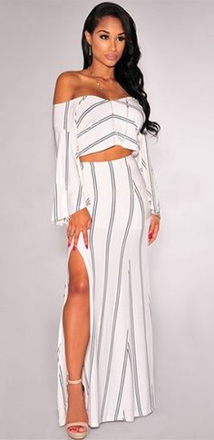 Seeing Double White Black Stripe Long Bell Sleeve Off The Shoulder Crop Top Thigh Slit Two Piece Maxi Dress