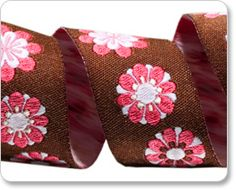 Pink and Brown Flowery Ribbon from Renaissance Ribbons
