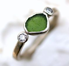 Unusual seaglass and diamond ethical engagement ring // Glasswing Jewellery // The Natural Wedding Company