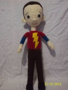 Sheldon Cooper crochet doll