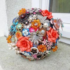 Handmade wedding Brooch Bouquet Fabric Bridal luxury exclusive orange silver crystals