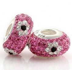 (UK.NO.11066) Pandora Silver White Pink Black Flower Swarovski Crystal Bead Sku:PCbeads66 Special Price:€11.85