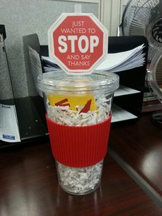 Bus driver gift I made for end of the year... $1.00 cup from dollar tree and giftcard with cute printable gift tag