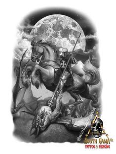 Angel Sleeve Tattoo, Sleeve Tattoos, Tattoo Sao Jorge, Guerrero Tattoo, Saint Tattoo, Medieval Tattoo, Tattoo Brazo, Saint George And The Dragon, Tattoo Studio