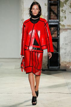 Oversized perforated leather in red at Proenza Schouler Summer 2013 #NYFW