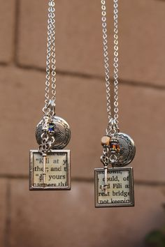 """Pinning Prompt #3 -- Friendship charm necklaces inspired by """"The Hobbit"""" film trilogy. I made these for my sister and me to wear to the theater when we saw the third movie. The text on the charms showcases our two favorite characters."""