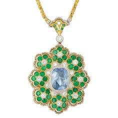 Two-Color Gold, Sapphire, Diamond and Emerald Pendant-Brooch with Chain, Buccellati