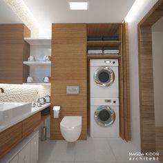 Pomysłowa zabudowa szafy w łazience Pralka ukryta w meblu