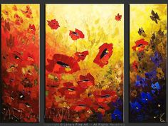 """Red Day And Blue Night"" - Original Flower Paintings by Lena Karpinsky, http://www.artbylena.com/original-painting/20420/red-day-and-blue-night.html"