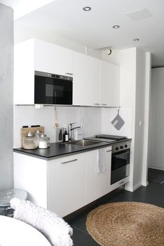 Kitchen, White, Grey Floor, Tiny Kitchen, Small Apartment,