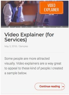 Some people are more attracted visually. Video explainers are a way great to appeal to these kind of people.I created a sample below. Some People, Continue Reading, Attraction, It Works, Nailed It