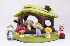 This beautiful house and some of the Shroompers are now living at our house. Just lovely. Shroomper House Waldorf Style Felt Dollhouse by shroompers on Etsy