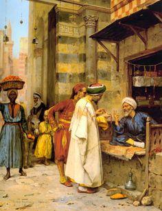 Arthur von Ferraris (Hungarian, 1856-1936),Driving a Bargain,1890 oil on canvas   كل قلوب الناس جنسيتي