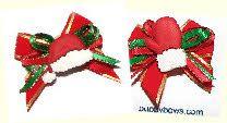 Santa hat and mittens dog bows