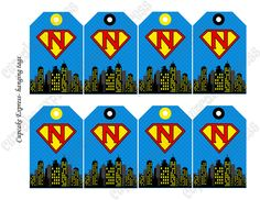 superhero party printables   DIY Super Hero Birthday Printable Party hanging Initial tags blue red ...