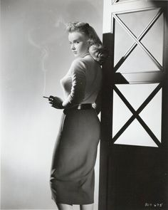 """Anne Francis in """"Girl of the Night"""" (1960), minus the cig, love this look too,"""