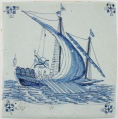 Antique Dutch Delft tile with a galley ship under sail, 17th century
