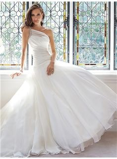 Ball Gown One Shoulder Sleeveless Organza Wedding Dresses