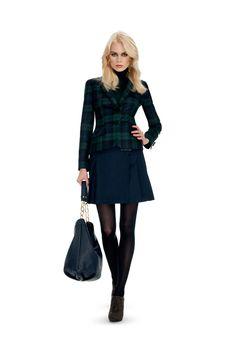 Jacket in wool tartan (model Savona), Kilt Wool (model trolleybus) leather bag (model ISABELLA)