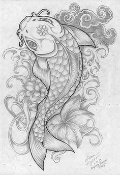 koi splat by anomkojar on deviantART - Tattoos - Tatuajes Koi Fish Drawing, Fish Drawings, Tattoo Drawings, Art Drawings, Koi Tattoo Design, Pisces Tattoo Designs, Dope Tattoos, Body Art Tattoos, Tatoos